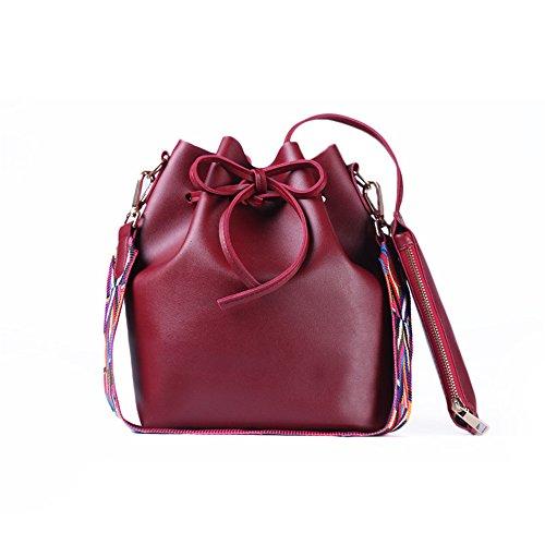 SMARTRICH secchio borsa da donna in pelle PU con cinturino colorato, donna borsa secchiello Crossbody borse, Red, 26cm*28cm