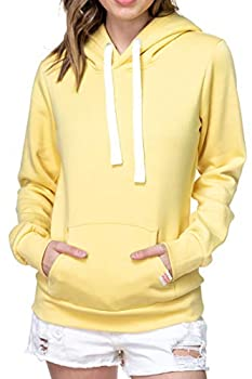 Womens Active Long Sleeve Fleece Lined Fashion Hoodie Pullover  X-Large A1 Solid Butter Yellow