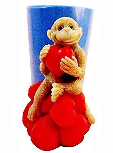 KIRALOVE Stampo in Silicone a Forma di Scimmia - Cuore - Amore- Candele - Resina - Gesso - DIY - Fai da Te - Hobby - calchi - Stampino per utilizzo Artigianale