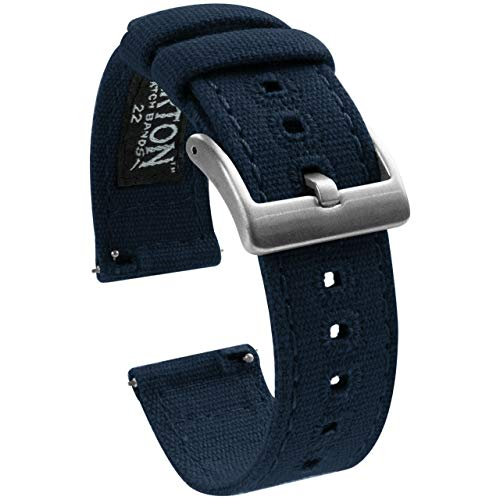 20mm Navy Blue - BARTON Canvas Quick Release Watch Band Straps - Choose Color & Width - 18mm, 19mm, 20mm, 21mm, 22mm, 23mm, or 24mm