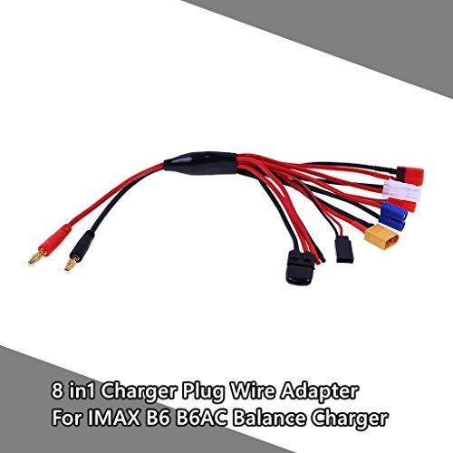 Dapei Konvert Line 8 in 1 Ladegerät Adapter Stecker Splitter Kabel für RC Lipo Batterie Balance Ladegerät IMAX B6 B6AC für TRX, EC3, JST, Futaba, XT60, T-Stecker, DIY blanker Draht ndgepäck