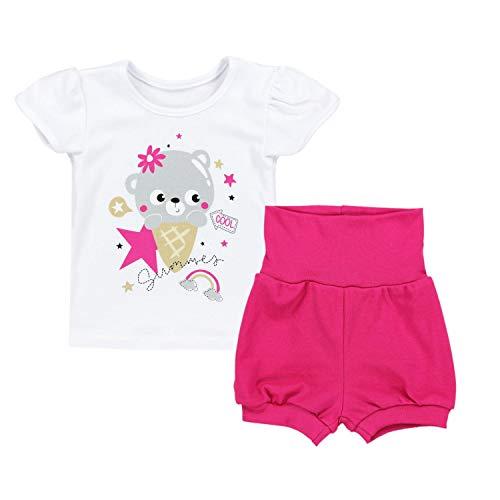 TupTam Baby Mädchen Sommer Bekleidung T-Shirt Shorts Set, Farbe: Bärchen mit EIS/Weiß/Pink, Größe: 92-98