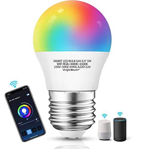 Aigostar Bombilla LED inteligente WiFi G45, 5W, E27 rosca gorda, RGB+CCT. Regulable multicolor + luz cálida o blanca 3000 a 6350K, 350lm. Compatible Alexa y Google Home [Clase energética A +]