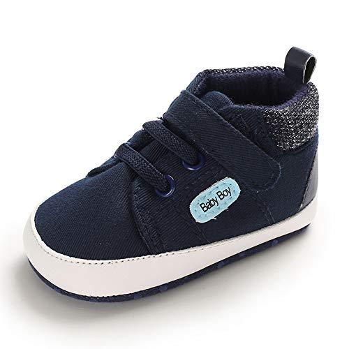 MASOCIO Babyschuhe Junge Baby Schuhe Lauflernschuhe Sneaker Dunkelblau 12-18 Monate (Hersteller Größe: 3)