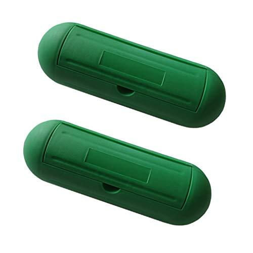 2x Outdoor Safebox | IP44 | Sicherheitsbox Schutzbox Safe-Box Schutzkapsel Regenschutz | Wasserdichte Schutzhülle für Kabel | Stromstecker Kabel Verlängerung | Grün | 2 Stück