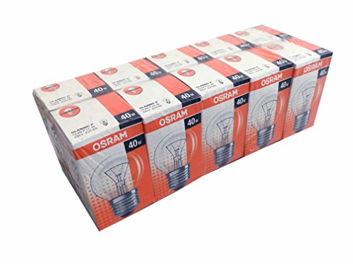 10 x OSRAM Glühlampe Glühbirne Tropfen Kugel E27 40W 40 Watt klar 230V