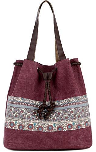 ArcEnCiel Canvas Tote Bag for Women Shoulder Purse Beach Handbags Work School Travel Shopping Pack (Maroon)