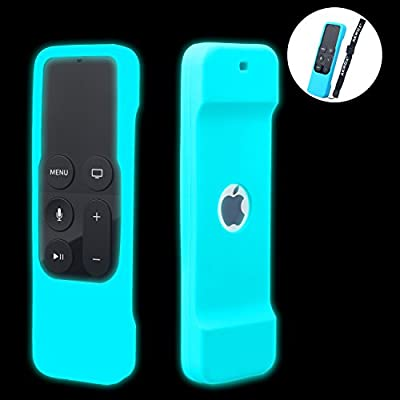 [Nightglow Blue] Case for Apple TV 4K / 4th Gen Remote, Akwox Light Weight [Anti Slip] Shock Proof Silicone Cover for Apple TV 4K Siri Remote Controller [Lanyard Included]