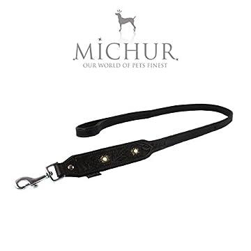 Michur Pablo eine weiche und starke Hundeleine aus Leder / Lederleine für Hunde! Das Modell: Pablo Braun mit beigem Stein. Die Hundeleine aus Leder hat eine Gesamtlänge vom 120cm bei einer Breite von 2,5cm. Eine passendes Halsband von Michur ist sepa...