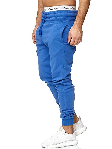 OneRedox Herren | Jogginghose | Trainingshose | Sport Fitness | Gym | Training | Slim Fit | Sweatpants Streifen | Jogging-Hose | Stripe Pants | Modell 5000C Blau S