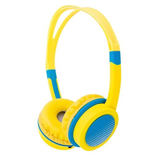 STOBOK Écouteurs pour Enfants 3. Écouteurs de 5 Mm avec Contrôle du Micro Casque Filaire Jaune Casque Pliable Stéréo Mains Libres pour Lecteur Mp3 Smartphone