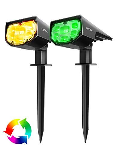 Luces solares exteriores IP67 impermeables 12 apliques inalámbricos LED de energía solar luces paisajísticas 2 en 1 para exterior escalera césped caminos – 12 colores 13 modos (2 unidades)