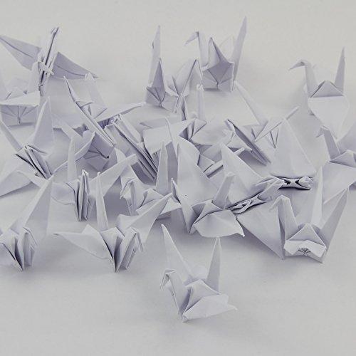 GOH Origami Kranich fertig kunstvoll filligran gefaltet (reinweiß), 7 cm 25 Stück-Set mit feinstem Nylonfaden und Nadel