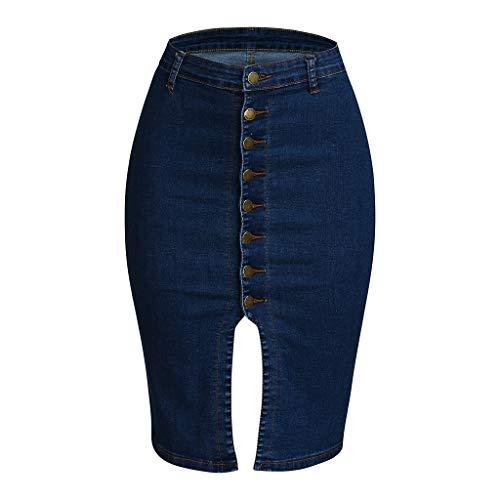 Zarupeng Skinny Jeansrok voor dames, knielang, hoge taille, dunne bodycon, casual business rok denim-rok met knoop