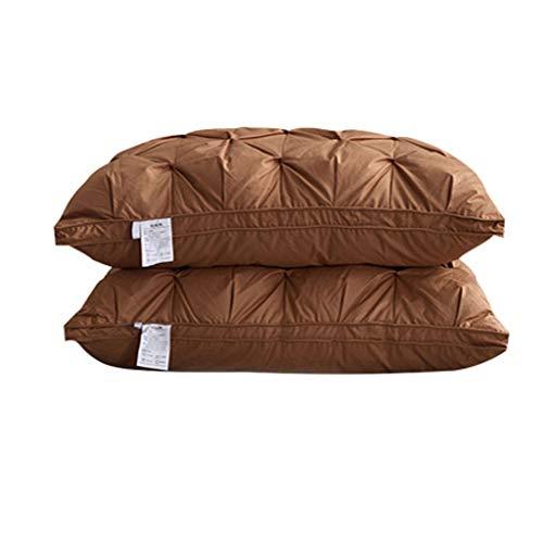LLKK Almohadas de Pluma de Ganso Blanco 95%,un par de Almohadas de Hotel de Cinco Estrellas de algodón para Adultos,un par de Almohadas de Cuello Suave