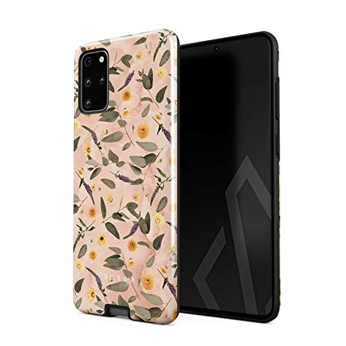 BURGA Phone Case Compatible with Samsung Galaxy S20 Plus - Peach Marble Flowers Blossoms Eucalyptus Leaves Floral Vintage Cute Heavy Duty Shockproof Dual Layer Hard Shell + Silicone Protective Cover