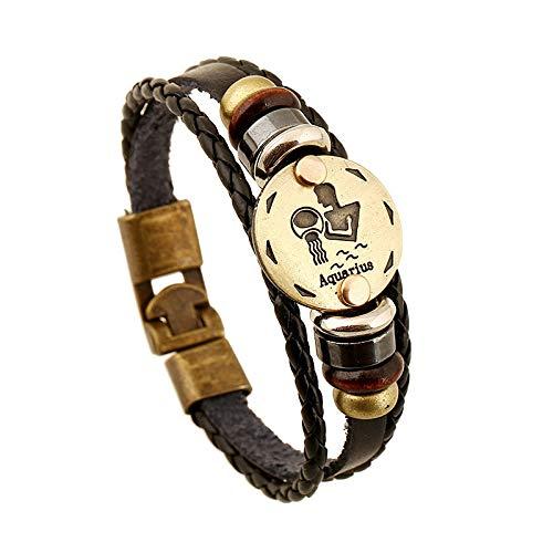KOOBK 12 Sternbild Aquarius Multilayer Handgewebtes Lederarmband Punk Vintage Charm Armband Verstellbarer Armreif Unisex Liebhaber Männer Frauen Armbänder