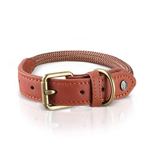 Michur Sherpa Brown Sugar, Hundehalsband Leder Verstärkung und Tau, Rund mit Polyamidkern und aus Nylon geflochten,Halsband für Hunde in verschieden Größen erhältlich.