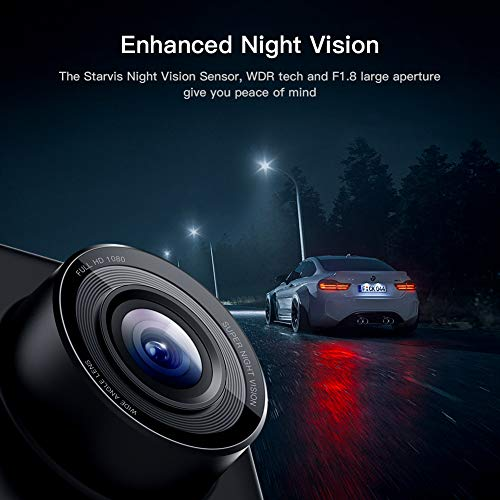 APEMAN Mini Dash Cam 1080P Car Camera Driving Recorder Night Vision, 170° Wide Angle, Motion Detection, Parking Monitoring, G-Sensor, Loop Recording