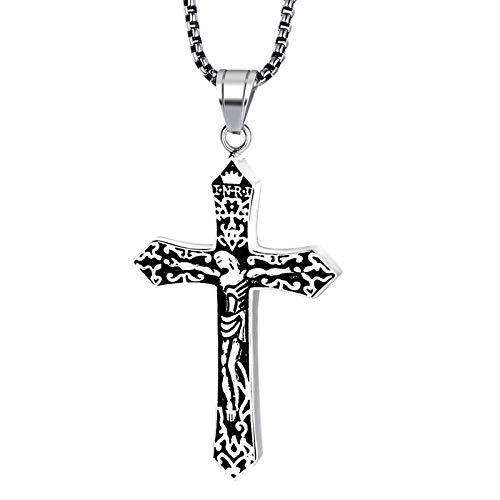 Gepersonaliseerde accessoires, Kettingen, Heren Goud Jezus Stuk Oosterse Orthodoxe Kruis Hanger in RVS Mannelijke Crucifix Ketting Sieraden, Thumby ZILVER