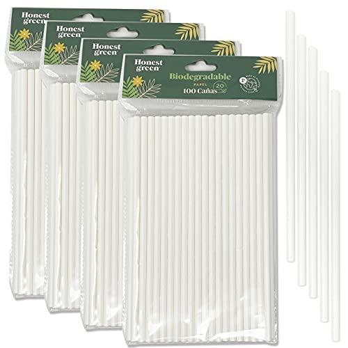 Eco Natural 400 Pajitas de Papel Desechables, 100% Ecológico, Reciclable y Biodegradable, Libre de BPA, Color Blanco