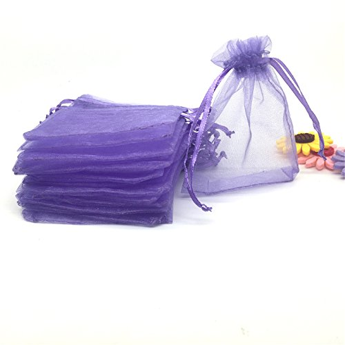 ANSLEY SHOP YIJUE 100pcs 3x4 Inches Drawstrings Organza Gift Candy Bags Wedding Favors Bags (Lavender)