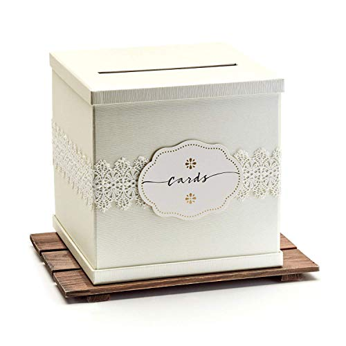 -SALE- Hayley Cherie - Ivory Gift Card Box with White Lace and Cards Label - Ivory Textured Finish - Large Size 10