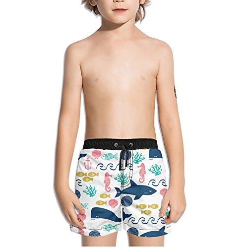 FullBo Whale Shark Fish Seahorse Shell Beach Wave Anchor Little Boys Short Swim Trunks Quick Dry Beach Shorts