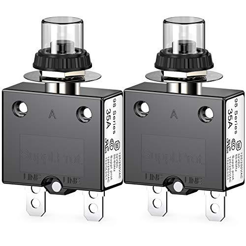 Clyxgs Thermischer Schutzschalter, 98 Serie 35A 125 / 250VAC Drucktasten-Reset für Schutzschalter mit Schnellanschlussklemmen und wasserdichter Tastenabdeckung 32VDC, 2 Stck