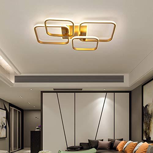 Lámpara LED de techo para dormitorio o salón, regulable decor de techo moderna rectangular diseño de anillo dorado con mando a distancia mesa de comedor cocina lámpara colgante acrílica cuadrado