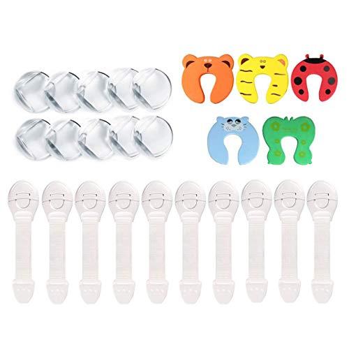 Dioxide Kits de Seguridad para Bebé Niños 10 x Cierres de Seguridad Armario y Cajones 10 x Protector de Esquinas y Bordes 5 x Tope de Puerta Protector Dedos