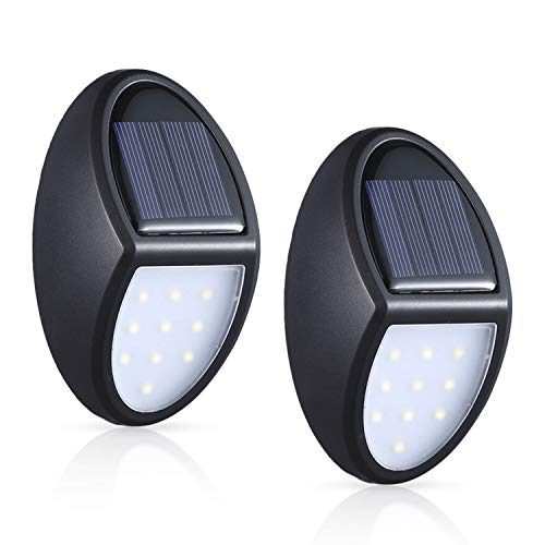 MOSUO Luz Solar Jardín, 2 Pack Luces Solares LED Foco Solar Exterior, 10 LED Lámpara Solar de Pared, Iluminación de Seguridad con Sensor crepuscular IP65 Impermeable para Patio, Garaje, Camino