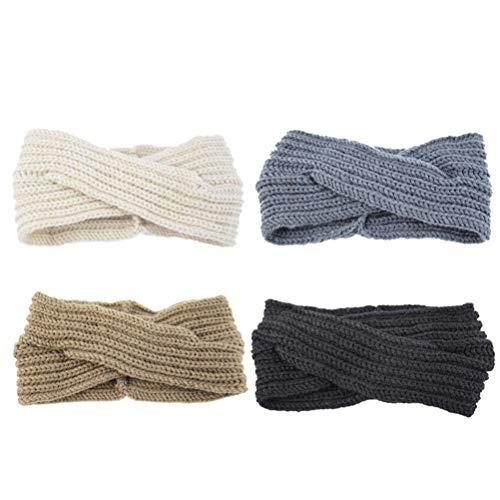 Lurrose 4pcs bandeaux vintage croix épissure bandes de cheveux accessoires de cheveux d'hiver pour femmes filles (noir + beige + kaki + gris foncé)