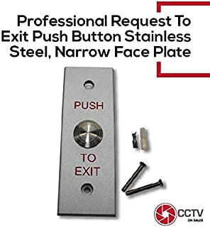 Access Control Request to Exit Push Button Stainless Steel Narrow Release Plate Heavy Duty Normally Open, Normally Closed and Common Indoor/Outdoor Applications IP66 Weatherproof Easy Installation