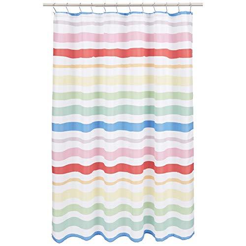 Amazon Basics Kids Bathroom Shower Curtain - Multicolor Stripe, 72 Inch