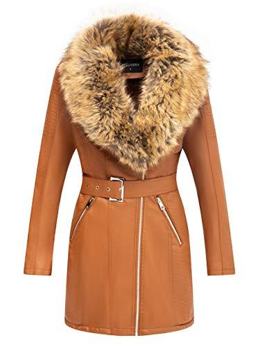 Bellivera - Gabardina para mujer con cuello desmontable de piel sintética, chaqueta larga/corta de piel sintética