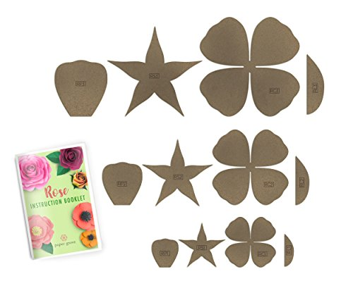 "Paper Flower Template Kit Rose and Bonus Poppy (4 Styles Rose, 1""-18"")"