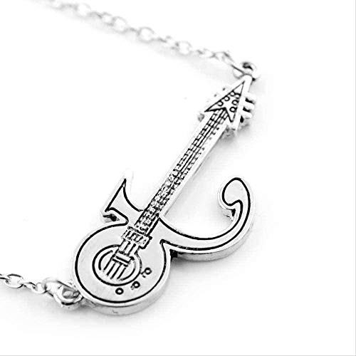 Yiffshunl Necklace New Skull Skeleton Electric Guitar Necklace Pendant Vintage Charm Choker Gift for Rocker Men Women Colar Jewelry Necklace Gift