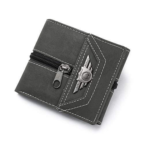 DZX lederen portemonnee heren ultradunne dikte 1,5 cm eenvoudig maar elegant Zwart