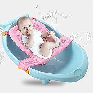 Alfombrilla de baño para bebé recién nacido, cojín plegable para asiento de baño, antideslizante, hamaca de baño, ajustable, asiento de baño, de malla, cómodo para niños de 0 a 3 años