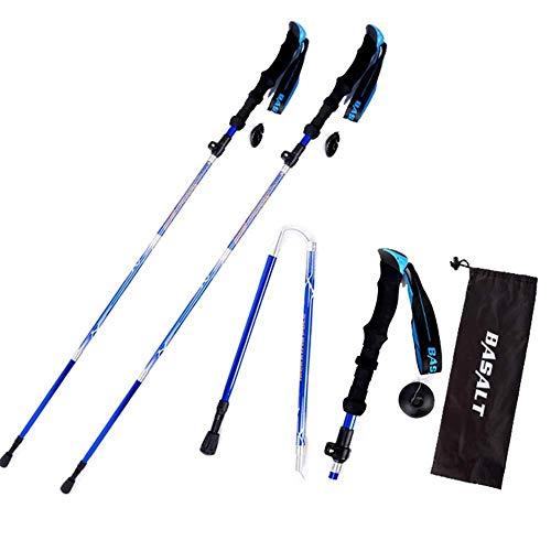 CS-DSZ Bâton de marche nordique en aluminium ultra léger, pliable, plage de réglage de 35 à 135 cm, avec sac de rangement, adapté pour la randonnée, 2 pièces de linabind (taille : bleu 135 cm)