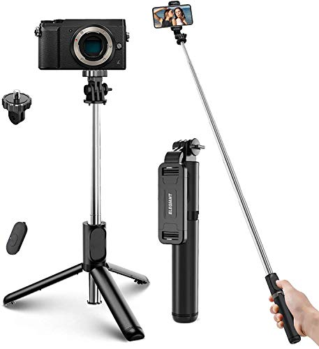 ELEGIANT Selfie Stick Bluetooth, Extendable Selfie Stick Lightweight Aluminum All in One Compact Design for iPhone 12 11 Pro 11 Pro Max X XR XS MAX 8 7 6 Plus, Samsung S10 S9 S8 S7 S6, Huawei and More