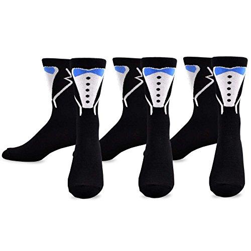 TeeHee Wedding Cotton Crew Socks for Women and Men 3-Pack 10-13, (Groom)