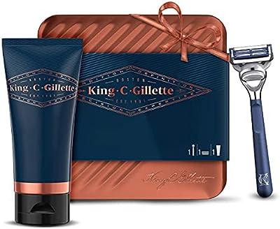 King C. Gillette Neck Razor for Men + 1 Refill Blade + Transparent Gel, Shavnig Gift Set Ideas for Him/Dad from Procter & Gamble