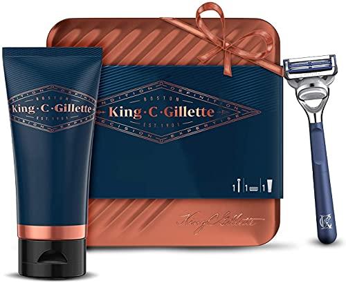 King C Gillette Idea Regalo Uomo con Regolabarba Uomo, Rasoio a Mano Libera, Gel Da Barba Trasparente, in Scatola di Latta, Confezione Regalo Set Barba Uomo Professionale
