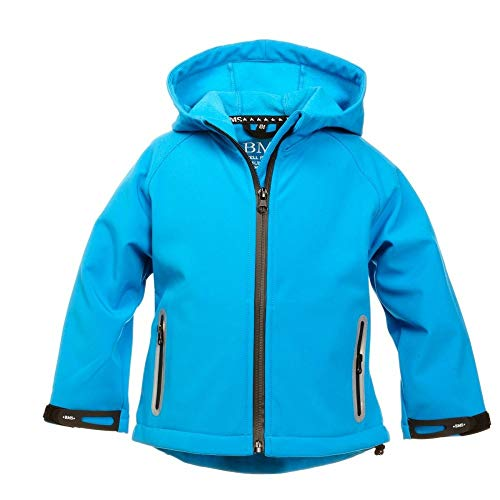 BMS Kinder Softshell Jacke mit Kapuze Farbe Türkis, Größe 134