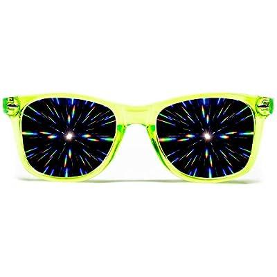 GloFX Diffraction Glasses – Transparent Green - 3D Prism Firework Grating