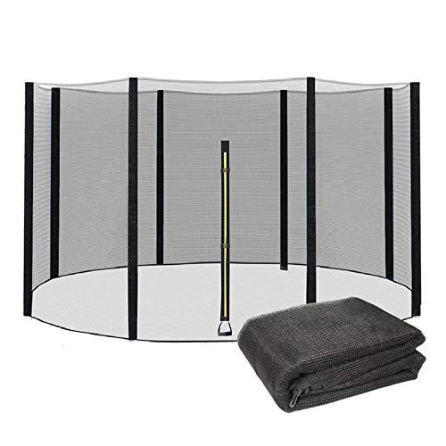 EYLIFE 366 Red de seguridad para cama elástica 366 8 barras, accesorios para cama elástica de ocio, color negro