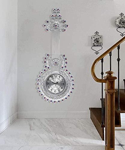 46 x 116 cm, reloj creativo para sala de estar, reloj de pared con personalidad para colgar en el hogar, atmósfera moderna, minimalista popular mesa para colgar guitarra (color plateado)