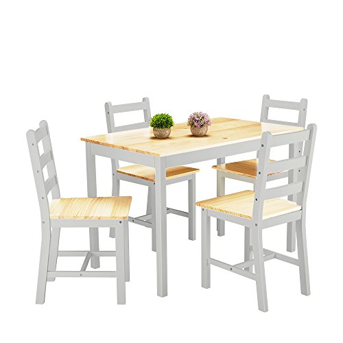 Panana Wooden Dining Table Set with 4 Chairs Contemporary Dining Furniture Three Color for Choice (Grey)